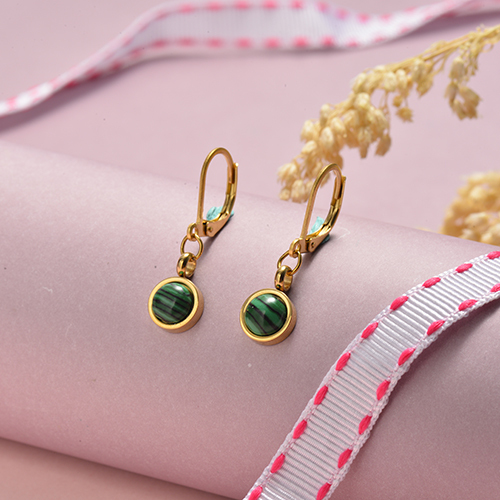 Rose Gold Plated Jewelry Siemple Design Stainless Steel Emerald Earrings