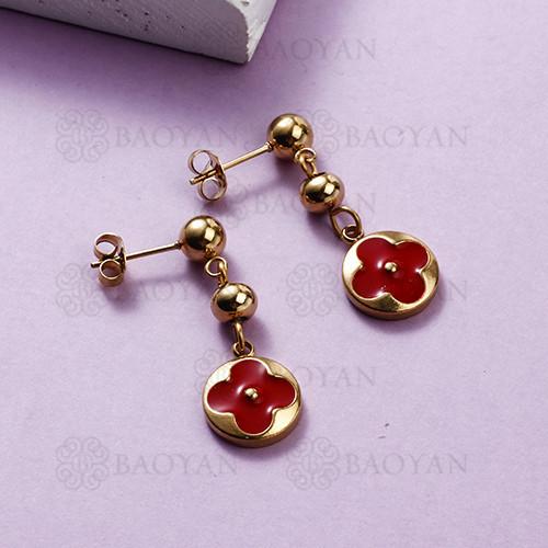Pendientes colgantes de flores de acero inoxidable con diseño Siemple de joyas chapadas en oro