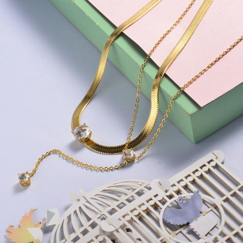 Collar de tres diamantes con capas de oro