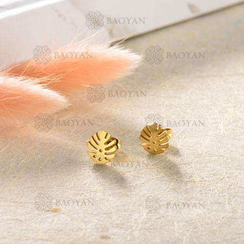 Pendientes de hoja de acero inoxidable con diseño de joyería chapados en oro