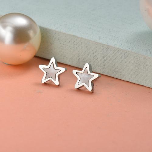 Bijoux en acier inoxydable argenté Boucles d'oreilles étoiles de style simple