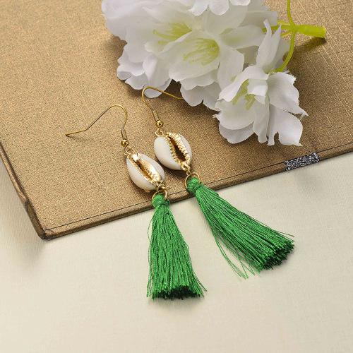 Joyas de acero inoxidable Diseño de concha Pendientes de borla Borla verde