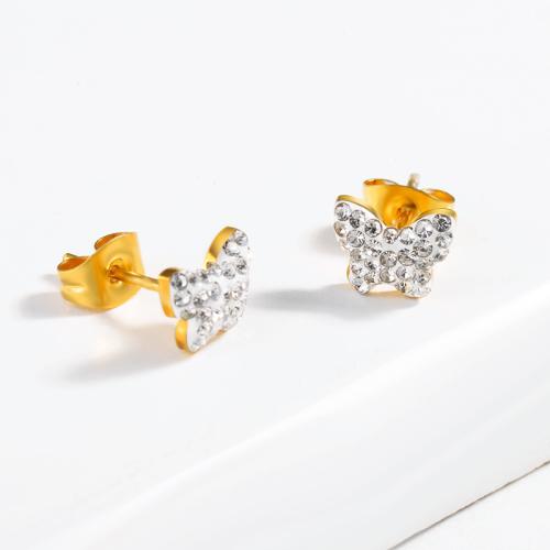 Pendientes de mariposa de acero inoxidable con diseño de joyería chapados en oro