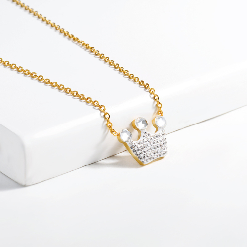 Fashion style clay diamond crown gold necklace