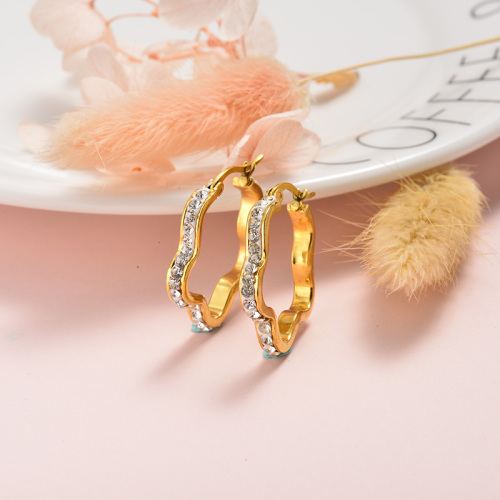 Boucles d'oreilles en cristal plaqué or de conception de personnalité de bijoux en acier inoxydable