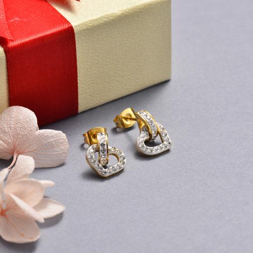 Pendientes de corazón de diamantes de acero inoxidable de moda con diseño de joyas chapados en oro