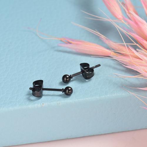 Boucles d'oreilles en acier inoxydable Design Black Ball Fashion