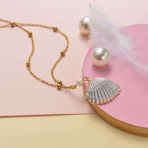 Collar de oro simple concha de plata
