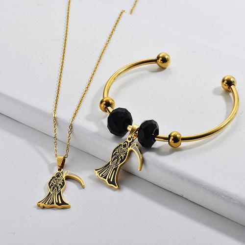 Conjunto de joyas de acero inoxidable plateado con collar y brazalete para mujer