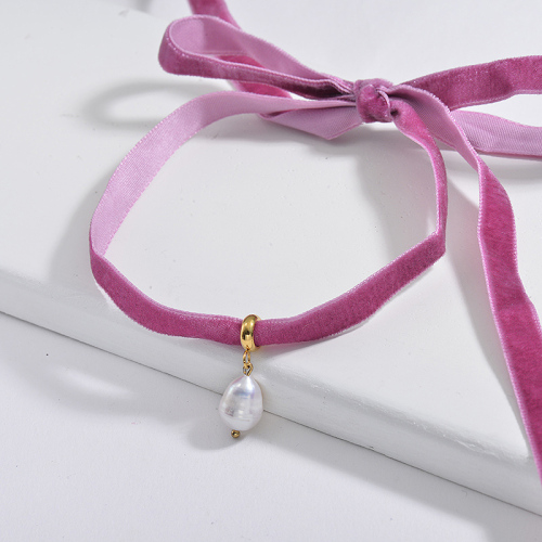 Elegant Natural Freshwater Pearl Pendant Purple Flannel Choker Necklace