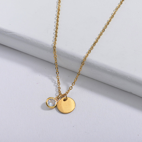 Dainty Gold Stainless Steel Round Charm With Clear Zircon Necklace