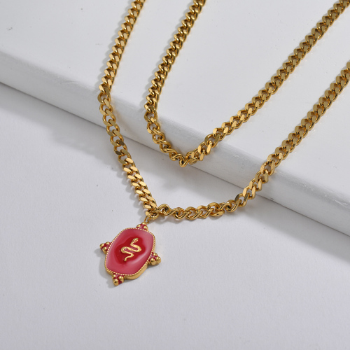 Red Enamel  Snake Square Pendant Layer Curb Link Chain Necklace