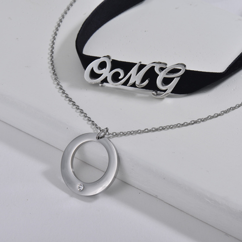 Silver Round Pendant With OMG Charm Black Flannel Layer Chain Choker Necklace