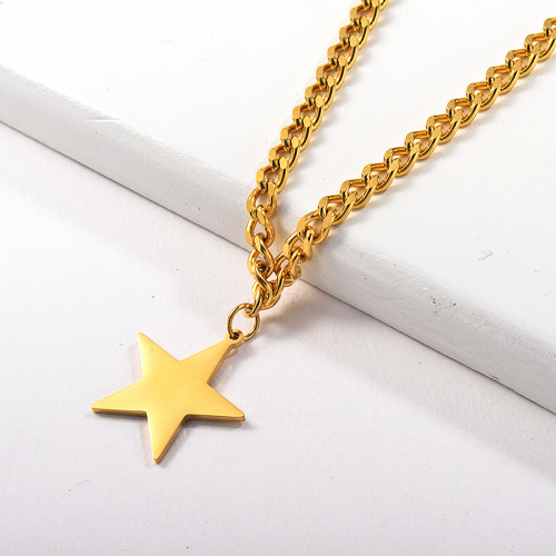 Fashion Gold Lucky Star Pendant Statement Curb Link Chain Necklace