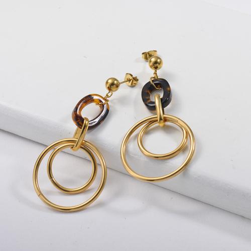 Style français de boucles d'oreilles en acier inoxydable de mode de conception de bijoux plaqué or