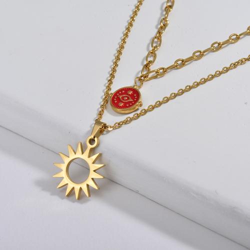 Red Evil Eye Redonda Con Colgante De Sol Collar A Capas