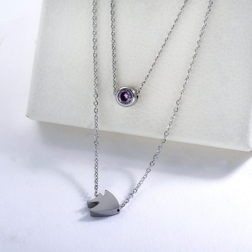 New Design Silver Fish Charm With Zircon Double Chains Necklace