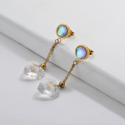 Gold Dangle Cross Earrings with Crystal heart