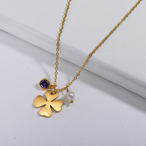 Gold Flower With Birthstone And Pearl Charm Necklace