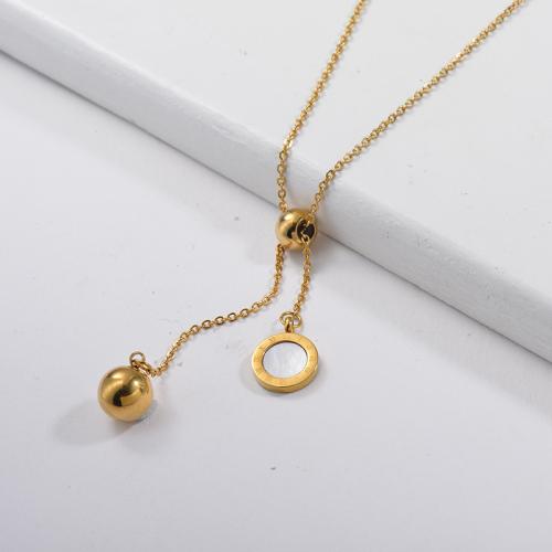 Collier lariat boule or avec pendentif rond coquillage