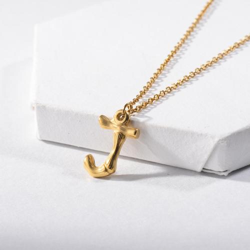 Joyería de moda Collar con inicial del alfabeto J de oro