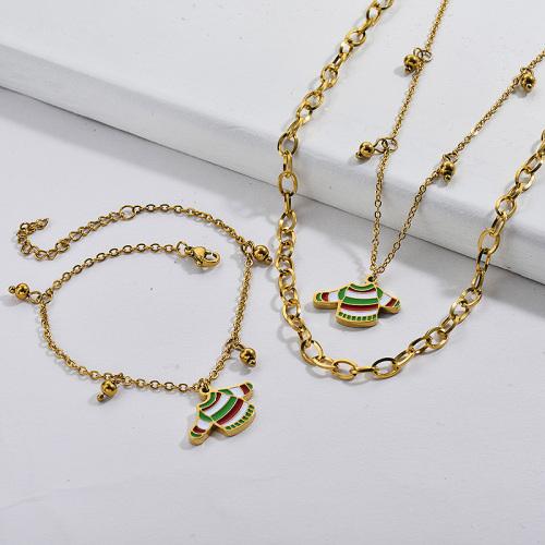 Conjuntos de pendientes de collar de suéter de Navidad chapados en oro de acero inoxidable