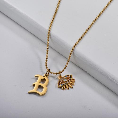 Collar con dije de cobre y letra B de oro con mal de ojo