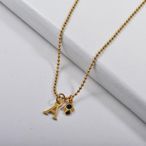 Pendentif lettre initiale en or A avec mini collier à breloques pour femme