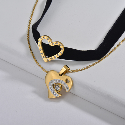 Collar de gargantilla de cadena de capa de franela negra con encanto de joyería de amante de corazón de moda