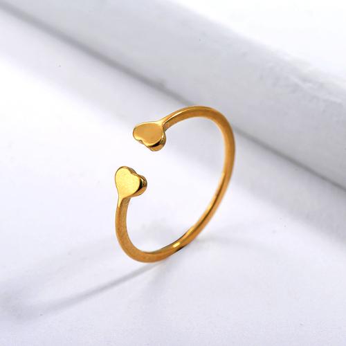 Anillo de novia de corazón dorado de marca famosa de acero inoxidable