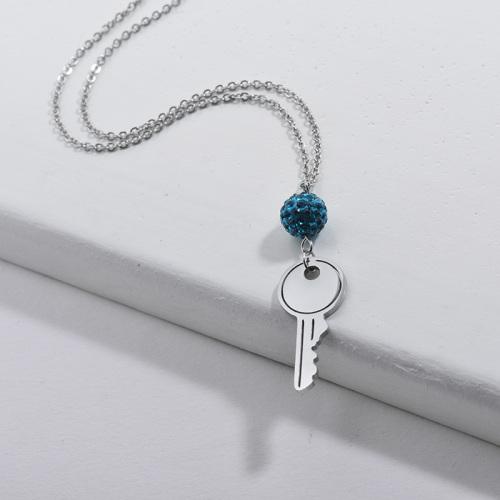 Colgante de llave de plata de moda con collar de piedras preciosas de cristal azul para niñas