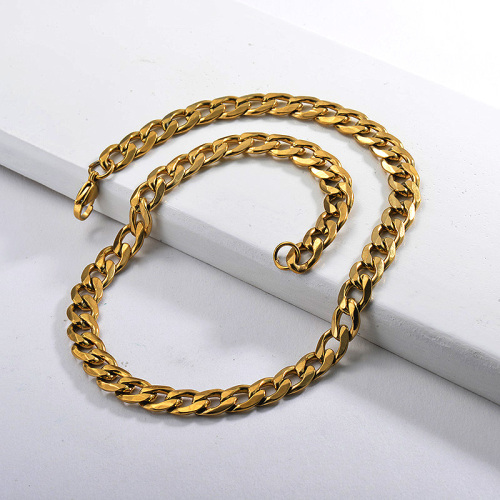 Gold Chunky Cuban Link Chain Statement Necklace