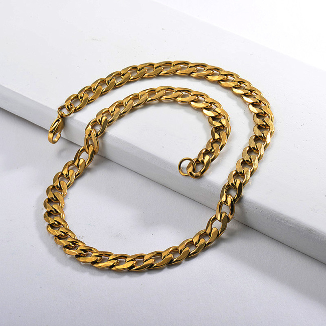 قلادة بيان سلسلة الارتباط الكوبي مكتنزة الذهب