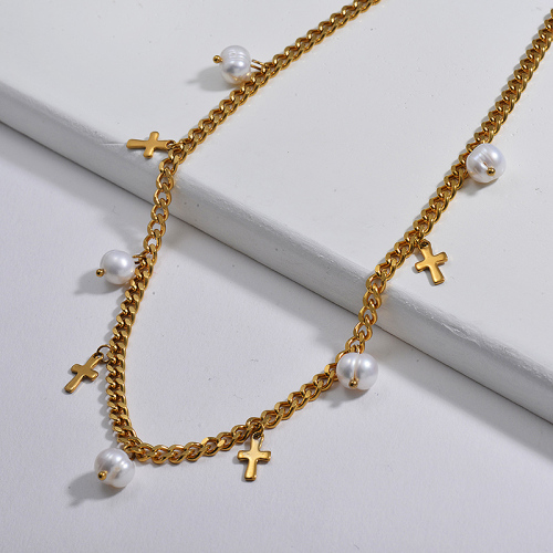 Vintage Mini Cross Charm With Freshwater Pearl Chunky Curb Link Chain Necklace