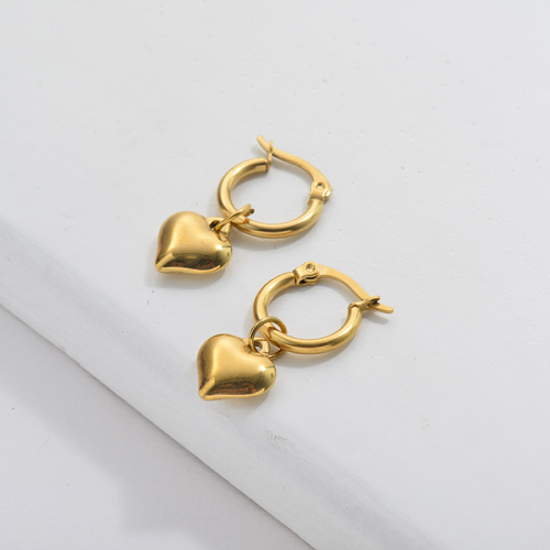 Gold Plating Hoop Earrings French Style with Golden Heart