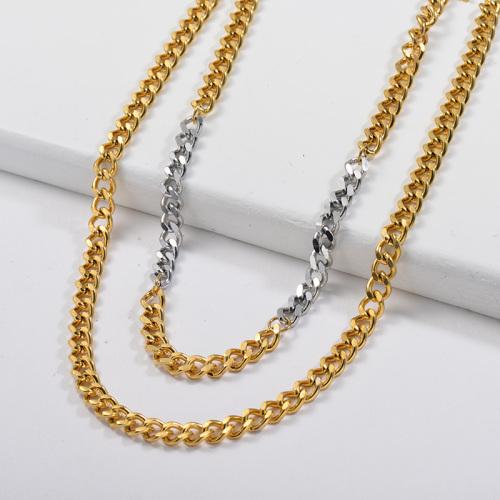 Collar grueso con cadena de eslabones mixtos de doble color en oro plateado