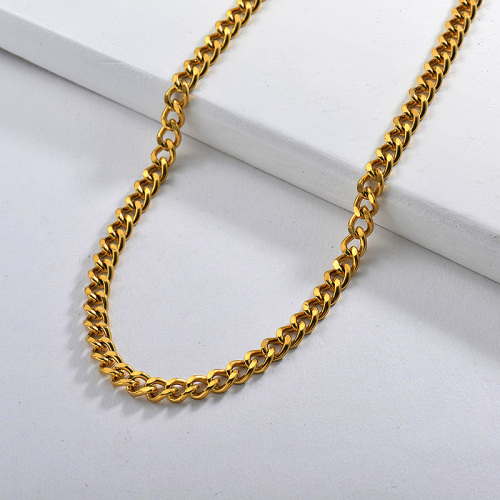 Gold Long Curb Link Chain Necklace