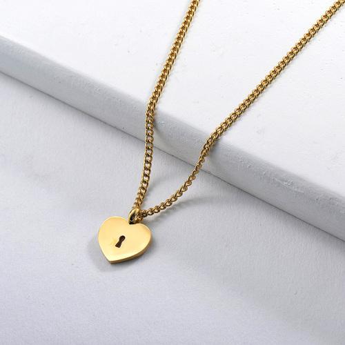 Regalo lindo del collar del colgante de la llave del corazón de oro para la novia