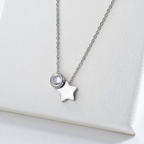 Fashion Silver Star Charm With Clear Zircon Charm Necklace For Women
