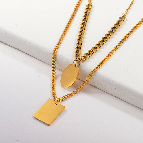 Simple Gold Round Square Geometry Pendant Chunky Curb Link Chain Layer Necklace