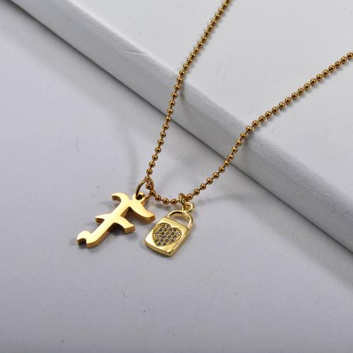 Letra F de estilo gótico dorado personalizado con collar con cuentas de cerradura