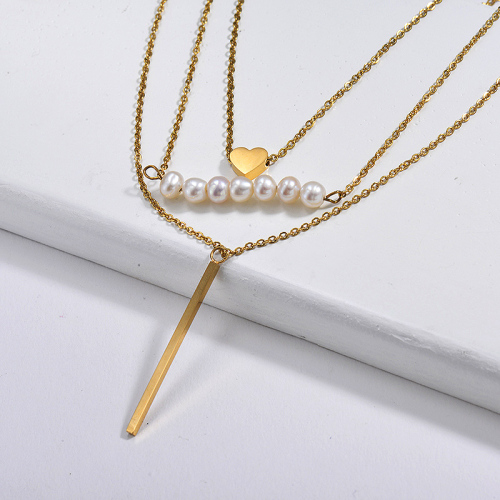 Fashion Bar With Heart Charm With Freshwater Pearl Multilayer Necklace