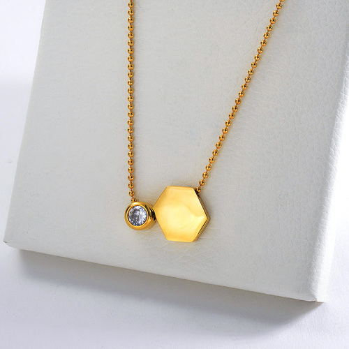 Gold Hexagon Geometry With Zircon Charm Ball Chain Necklace