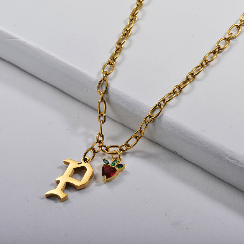 Pendentif lettre P en or à la mode avec collier de chaîne de câble de charme en cuivre Apple