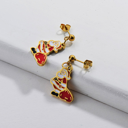Gold Plating Earrings For Chrismas Gift OF Santa Claus Cute Style