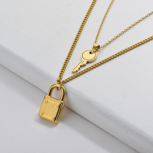 Gold Plating Lock Key Charm Double Chain Necklace For Women