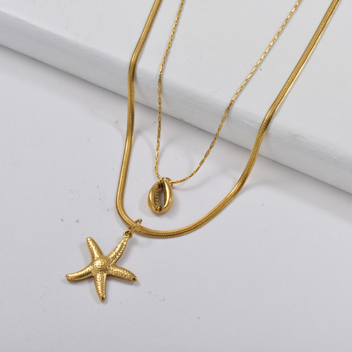 Estrella de mar de oro al por mayor con collar de capa de cadena de serpiente Puka Shell