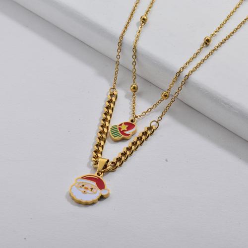 Enamel Santa Claus Double Chains Women Necklace Christmas Gift 2020