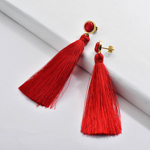 Gold Tassel Earring Red Tassel with Ruby Stone