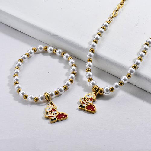 Conjunto de brazalete de collar de Papá Noel de perlas chapadas en oro de acero inoxidable al por mayor